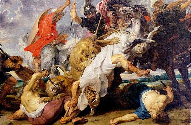 Охота на львов. Около 1621, масло, холст, 249×377см. Мюнхен, Старая пинакотека