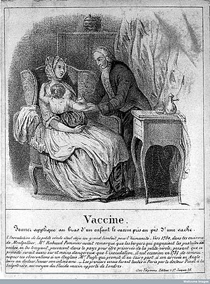 Jacques Antoine Rabaut-Pommier - Image of Edward Jenner vaccinating a patient, with the role of Rabaut-Pommier explained in the text below