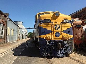 Victorian Railways L class - L 1162 At Newport Workshops in March 2014 alongside L 1160
