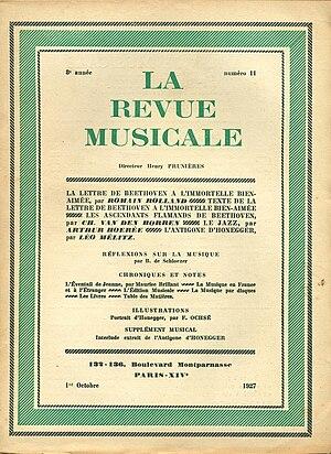 La Revue musicale - Cover of La Revue musicale (1927).