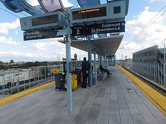 La Cienega/Jefferson station - The La Cienega/Jefferson station in November 2015.