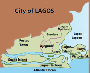 74454ec03f5 Mapa mostrando as principais áreas urbanas e localização do porto e  aeroporto de Lagos