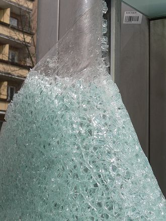 Safety glass - Broken laminated safety glass, with the interlayer exposed at the top of the picture