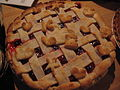 Lattice cherry pie with pastry-shell decorations, November 2008.jpg