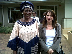 Lynne Featherstone - Rt Hon Lynne Featherstone MP launches 16 days of activism for the elimination of violence against women with the Minister of Gender and Child Development, Inonge Wina MP, in Zambia in November 2012.