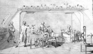 Marie-Anne Paulze Lavoisier - Madame Lavoisier while assisting her husband on his scientific research of human respiration; she is visible at the table on the far right.