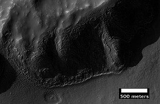 Icaria Planum - Image: Layered mantle in Icaria Planum