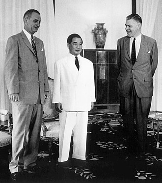 Frederick Nolting - US Vice President Lyndon B. Johnson, RVN President Ngo Dinh Diem and Frederick Nolting in South Vietnam's Presidential Palace in 1961