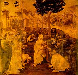 An unfinished painting showing the Virgin Mary and Christ Child surrounded by many figures who are all crowding to look at the baby. Behind the figures is a distant landscape and a large ruined building. More people are coming, in the distance.
