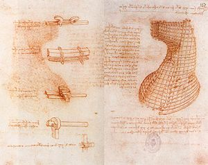 Codex Madrid (Leonardo) - Double manuscript page on the Sforza monument