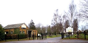 Letchworth Cemetery - Entrance to Letchworth Cemetery with the Chapel on the left
