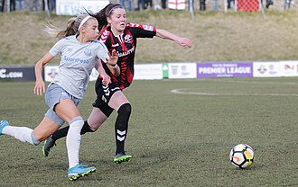 Chloe Kelly - Kelly (left) during a match against Lewes, February 2018