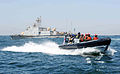 Liberian sailors depart the Mauritanian navy patrol boat Limam Elhadrami (P601) aboard a Royal Navy rigid-hull inflatable boat March 11, 2013, in Dakar, Senegal, after conducting a boarding drill during exercise 130311-N-IY142-607.jpg