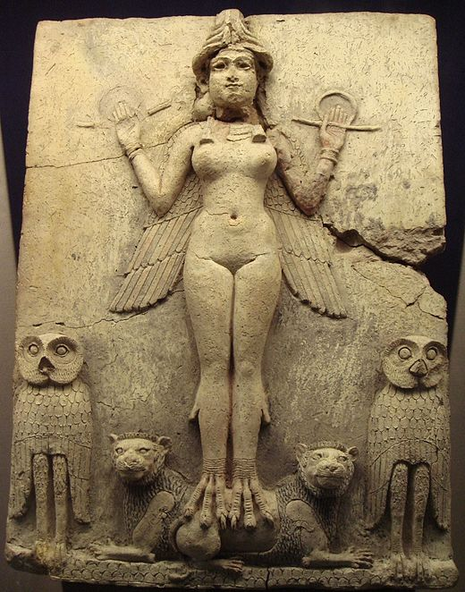 The Burney Relief, First Babylonian dynasty, around 1800 BC Lilith Periodo de Isin Larsa y Babilonia.JPG