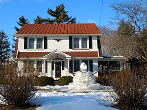Lionville, Pennsylvania - House and snowman in Lionville