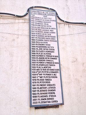 Holy Cross Church, Kurla - List of Parish Priests