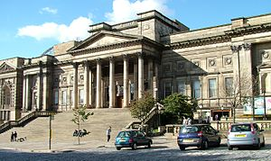 William Brown Library and Museum - Main entrance to the building and, to the right, the ground-level entrance to the Liverpool Central Library