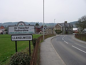 Llanelwedd - Image: Llanelwedd Road Sign