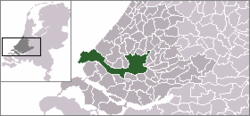 Location of Rotterdam within the Netherlands