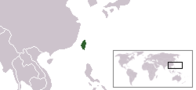 A map showing the location of Taiwan