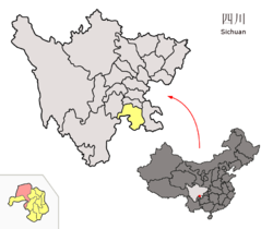 Location of Xuzhou District (red) within Yibin City (yellow) and Sichuan