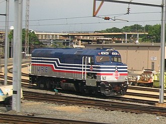 Virginia Railway Express - Image: Locomotives at Ivy City VRE EMDF40PH 2