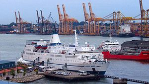 Colombo Harbour - MV Logos Hope ship berthed at Colombo harbour in 2015
