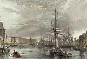 Francis William Topham - West India Dock (Import), 1837 engraving by Topham