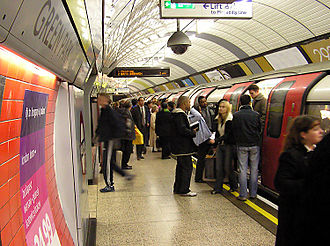 Transport in London - London Underground's Jubilee line at Green Park station.