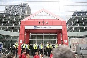 Loto-Québec - Loto-Québec's headquarters in Montreal, blocked during the 2012 Quebec student protests.