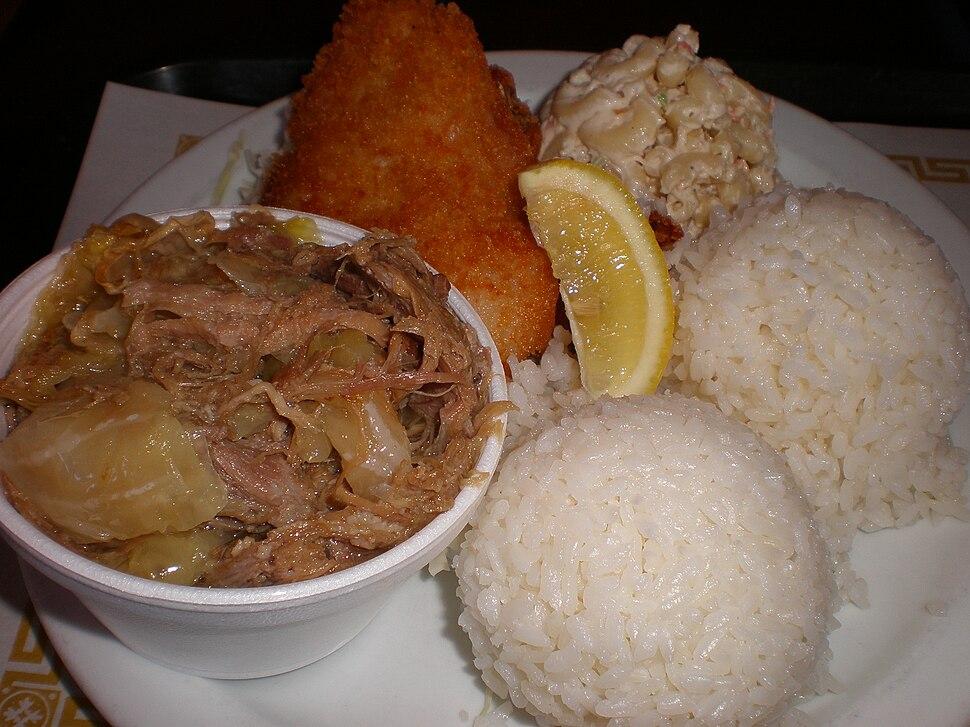 Lukoki Hawaiian BBQ, Mt. View seafood & kalua pork combo