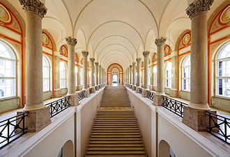 Bavarian State Library - Splendid stairway of the Bayerische Staatsbibliothek
