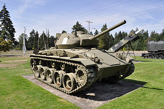 Tanks of the U.S. in the World Wars - M24 Chaffee on display