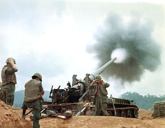 M107 self-propelled gun - An M107 provides fire support for ground forces in Vietnam War, 1968.