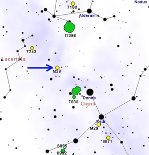 Messier 39 - Map showing location of M39
