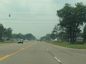 M-72 (Michigan highway) - Junction of M-72 and M-93 west of Grayling, looking westbound