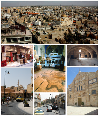 Madaba - Madaba's skyline and King Hussein Mosque, Apostles Church, Shrine of the Beheading of Saint John the Baptist, St. George Church, Madaba Archaeological Park, Souvenir shops,Madaba Mosaic Map.