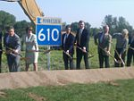 Senators Al Franken and Amy Klobuchar with other dignitaries breaking ground on the MN 610 extension