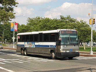 MTA Regional Bus Operations - A typical vehicle, an MCI cruiser, used in express bus service. This example wears the livery used from 1977 until 2016.