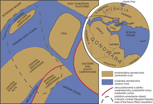 Pieniny Klippen Belt - Paleogeographic situation in the Western Carpathian realm during the Upper Jurassic.