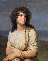 Portrait peint d'une femme aux cheveux bruns, longs et bouclés, elle porte une étole blanche sur une chemise blanche en croisant les bras.