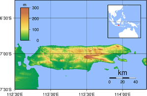 Madura Island - Topography of Madura (above)   Location of Madura in East Java (below)
