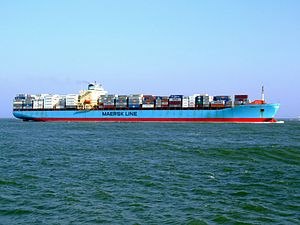 Maersk Mytilini p7 approaching Port of Rotterdam, Holland 01-Apr-2007.jpg