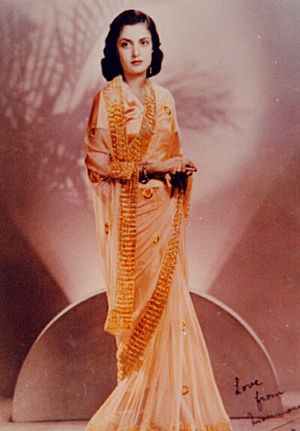 1930–45 in Western fashion - Indian saree made from chiffon fabric, inspired by the evening dresses of Hollywood starlets.