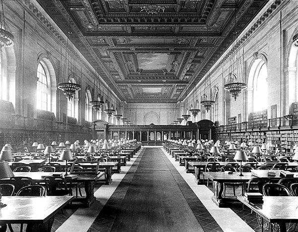 Main Branch Reading Room, c. 1910-1920 Main Reading Room of the New York City Public Library on 5th Avenue ca, 1910-1920.jpg