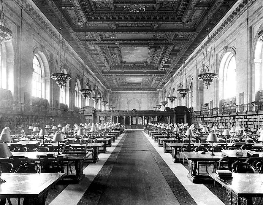 Main Reading Room of the New York City Public Library on 5th Avenue ca, 1910-1920
