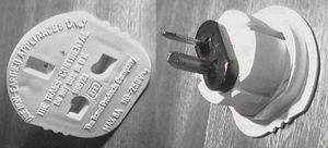 Adapter - This mains power plug travel adapter allows British plugs to be connected to American or Australian sockets.
