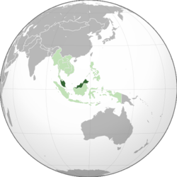 Location o Malaysie (dark green) in ASEAN (licht green) an Asie.