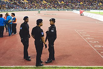 2017 Southeast Asian Games - Officers of the Royal Malaysia Police on duty at the men's football final.