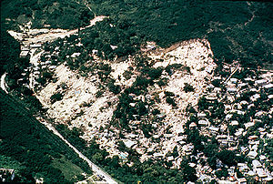 Landslide - The Mameyes Landslide, in the Mameyes neighborhood of barrio Portugués Urbano in Ponce, Puerto Rico, which buried more than 100 homes, was caused by extensive accumulation of rains and, according to some sources, lightning.